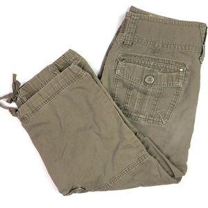CAbi 100% Cotton Green Capri Cargo Pants